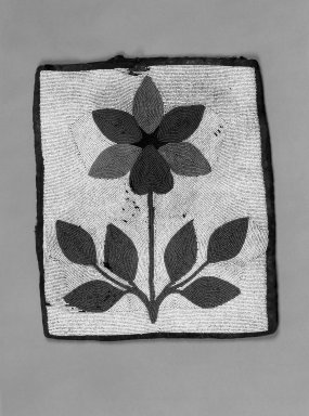 Probably Chippewa (Anishinaabe). <em>Ceremonial Bag with Floral Beadwork</em>, early 20th century. Cloth, beads, 13 x 11 in. (33 x 27.9 cm). Brooklyn Museum, Anonymous gift in memory of Dr. Harlow Brooks, 43.201.61. Creative Commons-BY (Photo: Brooklyn Museum, 43.201.61_bw.jpg)