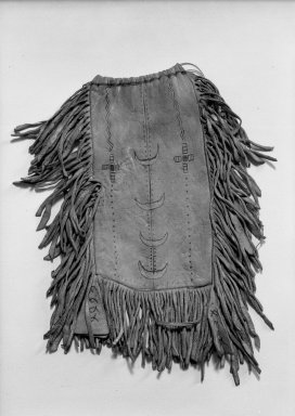 Apache (possibly Chiricahua). <em>Medicine or Tobacco Bag</em>. Buffalo hide, pigment, 14 3/16 x 8 11/16 in.  (36.0 x 22.0 cm). Brooklyn Museum, Anonymous gift in memory of Dr. Harlow Brooks, 43.201.8. Creative Commons-BY (Photo: Brooklyn Museum, 43.201.8_acetate_bw.jpg)