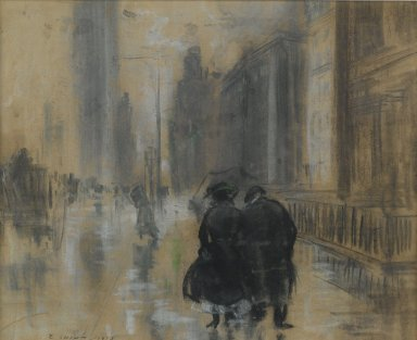 Everett Shinn (American, 1876-1953). <em>Fifth Avenue</em>, 1910. Pastel on beige, moderately thick, moderately textured laid paper., 12 3/8 x 15 1/4 in. (31.4 x 38.7 cm). Brooklyn Museum, Gift of Samuel A. Lewisohn, 43.227 (Photo: Brooklyn Museum, 43.227_PS6.jpg)
