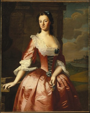 Robert Feke (American, ca.1707-ca.1752). <em>Portrait of a Woman</em>, 1748. Oil on canvas, 49 3/8 x 39 9/16 in. (125.4 x 100.5 cm). Brooklyn Museum, Dick S. Ramsay Fund and Museum Purchase Fund, 43.229 (Photo: Brooklyn Museum, 43.229_SL1.jpg)