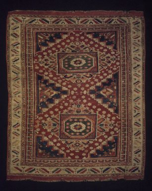 <em>Carpet</em>, late 19th century. Wool, Old Dims: 68 3/4 x 58 3/4 in. (174.6 x 149.2 cm). Brooklyn Museum, Gift of Mr. and Mrs. Frederic B. Pratt, 43.24.4. Creative Commons-BY (Photo: Brooklyn Museum, 43.24.4_transp6372.jpg)