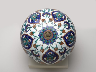 <em>Spherical Hanging Ornament</em>, 1575-1585. Ceramic; fritware, painted in black, cobalt blue, green, and red on a white slip ground under a transparent glaze, 12 3/4 × 11 3/4 × 11 1/4 in. (32.4 × 29.8 × 28.6 cm). Brooklyn Museum, Gift of Mr. and Mrs. Frederic B. Pratt, 43.24.8. Creative Commons-BY (Photo: Brooklyn Museum, 43.24.8_view2_PS9.jpg)