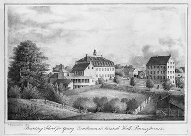 Gustavus Grunewald (American, active 1832-1850). <em>Boarding School for Young Gentlemen at Nazareth Hall, Pa.</em>. Lithograph, hand colored Brooklyn Museum, 43.241 (Photo: Brooklyn Museum, 43.241_bw.jpg)