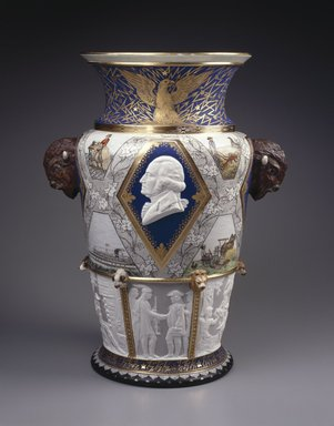 Karl L. H. Mueller (American, born Germany, 1820-1887). <em>Century Vase</em>, 1876. Porcelain, Height: 22 1/4 in. (56.5 cm). Brooklyn Museum, Gift of Carll and Franklin Chace, in memory of their mother, Pastora Forest Smith Chace, daughter of Thomas Carll Smith, the founder of the Union Porcelain Works, 43.25. Creative Commons-BY (Photo: Brooklyn Museum, 43.25_SL1.jpg)