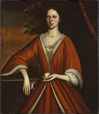 Attributed to Nehemiah Partridge (American, 1683-before 1737). <em>Wyntje (Lavinia) Van Vechten</em>, 1720. Oil on linen, 40 3/16 x 34 9/16 in. (102 x 87.8 cm). Brooklyn Museum, Dick S. Ramsay Fund, 43.36 (Photo: Brooklyn Museum, 43.36_SL1.jpg)
