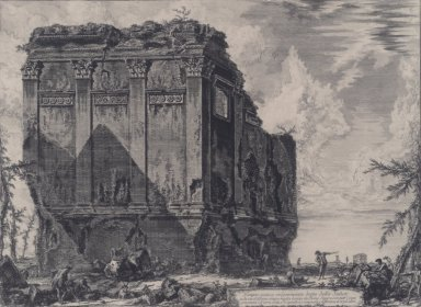 Giovanni Battista Piranesi (Italian, Venetian, 1720-1778). <em>The So-called Temple of Salus, on the Road to Albano</em>, 1763. Etching on laid paper, 16 5/16 x 22 1/16 in. (41.4 x 56 cm). Brooklyn Museum, Gift of J. Oettinger, 43.77 (Photo: Brooklyn Museum, 43.77.jpg)