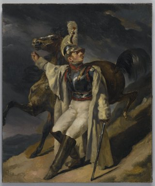 Théodore Géricault (French, 1791-1829). <em>The Wounded Cuirassier, study (Le Cuirassier blessé quittant le feu, esquisse)</em>, 1814. Oil on canvas, 21 3/4 x 18 1/8 in. (55.2 x 46 cm). Brooklyn Museum, Anonymous gift, 43.81 (Photo: Brooklyn Museum, 43.81_PS6.jpg)