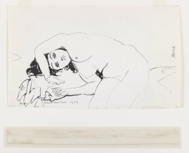 Walt Kuhn (American, 1877-1949). <em>Paula</em>, 1929. Pen and ink on paper, Sheet: 7 1/2 x 12 1/2 in. (19.1 x 31.8 cm). Brooklyn Museum, Anonymous gift, 43.82. © artist or artist's estate (Photo: Brooklyn Museum, 43.82_IMLS_PS3.jpg)