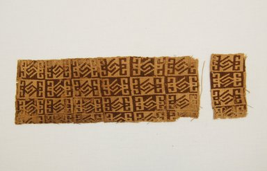Paracas. <em>Textile Fragment, undetermined</em>, 200-1000 C.E. Cotton, 1 15/16 x 9 5/8 in. (4.9 x 24.4 cm). Brooklyn Museum, Anonymous gift, 43.96. Creative Commons-BY (Photo: Brooklyn Museum, 43.96_front_PS5.jpg)