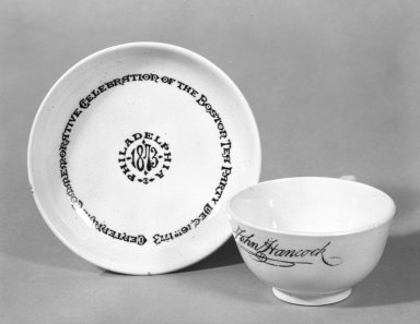 Glasgow Pottery Company. <em>Cup and Saucer</em>, 1873. White granite ware Brooklyn Museum, Gift of Arthur W. Clement, 44.1.22. Creative Commons-BY (Photo: Brooklyn Museum, 44.1.22a-b_bw.jpg)