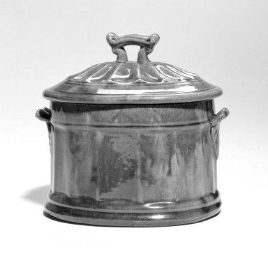 <em>Sugar Bowl</em>, 1850-1900. Glazed yellow earthenware Brooklyn Museum, Gift of Arthur W. Clement, 44.1.28. Creative Commons-BY (Photo: Brooklyn Museum, 44.1.28_bw.jpg)