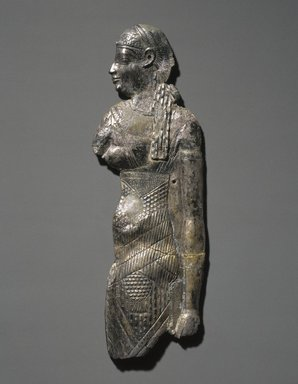 Egyptian. <em>Plaque of a Queen or Goddess (perhaps Cleopatra IV)</em>, 305-30 B.C.E. Gold-plated repousse silver, 15 3/4 × 9 × 1 in. (40 × 22.9 × 2.5 cm). Brooklyn Museum, Charles Edwin Wilbour Fund, 44.120. Creative Commons-BY (Photo: Brooklyn Museum, 44.120_SL1.jpg)