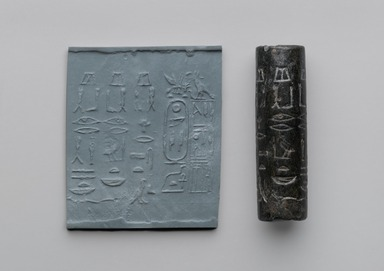 <em>Cylinder Seal of Pepy I</em>, ca. 2338-2298 B.C.E. Steatite, 2 13/16 x Diam. 3/4 in. (7.1 x 1.9 cm). Brooklyn Museum, Charles Edwin Wilbour Fund, 44.123.32. Creative Commons-BY (Photo: Brooklyn Museum, 44.123.32_with_impression_PS6.jpg)