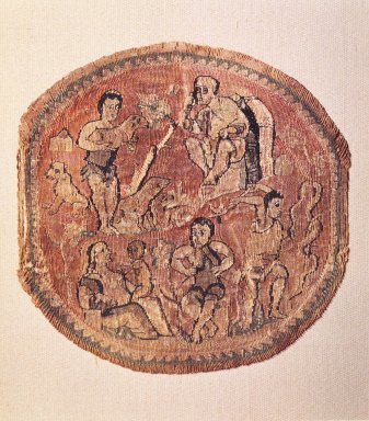 Coptic. <em>Tapestry Roundel</em>, 5th century C.E. Linen, wool, 4 11/16 x Diam. 4 3/4 in. (11.9 x 12.1 cm). Brooklyn Museum, Charles Edwin Wilbour Fund, 44.143a. Creative Commons-BY (Photo: Brooklyn Museum, 44.143a_transp1625.jpg)