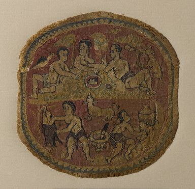 Coptic. <em>Tapestry Roundel</em>, 5th century C.E. Linen, wool, 4 11/16 x Diam. 4 1/2 in. (11.9 x 11.5 cm). Brooklyn Museum, Charles Edwin Wilbour Fund, 44.143c. Creative Commons-BY (Photo: Brooklyn Museum, 44.143c_PS9.jpg)