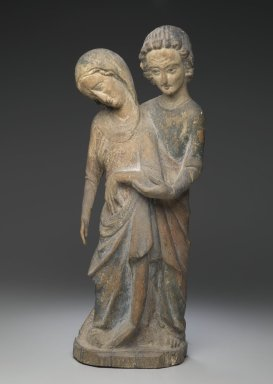 Unknown. <em>Mary and John</em>, 13th-14th century. Painted wood, 20 13/16 x 9 1/16 x 4 3/4 in. (52.8 x 23 x 12 cm). Brooklyn Museum, Gift of Mr. and Mrs. Frederic B. Pratt, 44.168.1. Creative Commons-BY (Photo: Brooklyn Museum, 44.168.1_view1_PS2.jpg)
