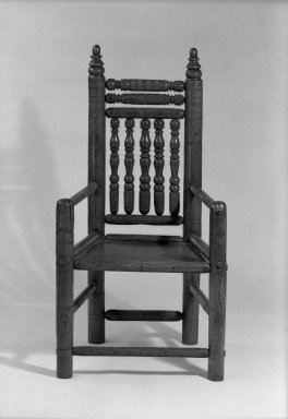 American. <em>Carver-style Armchair</em>, late 17th century. Turned oak, 45 5/8 x 24 x 19 3/4 in. (115.9 x 61 x 50.2 cm). Brooklyn Museum, Gift of Mr. and Mrs. Luke Vincent Lockwood, 44.176.2. Creative Commons-BY (Photo: Brooklyn Museum, 44.176.2_acetate_bw.jpg)