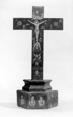 Unknown. <em>Cross</em>, early 19th century (probably). Wood; pigment, 22 3/4 x 11 1/4 x 3 1/2 in. (57.8 x 28.6 x 8.9 cm). Brooklyn Museum, Museum Expedition 1944, Purchased with funds given by the Estate of Warren S.M. Mead, 44.195.19. Creative Commons-BY (Photo: Brooklyn Museum, 44.195.19_bw.jpg)
