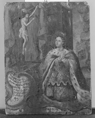 Unknown. <em>Queen Kneeling Before Cross</em>, late 18th-early 19th century. Painting on wood, 7 11/16 x 5 15/16 in. (19.5 x 15.1 cm). Brooklyn Museum, Museum Expedition 1944, Purchased with funds given by the Estate of Warren S.M. Mead, 44.195.21 (Photo: Brooklyn Museum, 44.195.21_bw.jpg)
