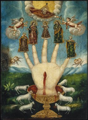 Mexican. <em>Mano Poderosa (The All-Powerful Hand), or Las Cinco Personas (The Five Persons)</em>, 19th century. Oil on metal (possibly tin-plated iron), 13 7/8 x 10 1/16in. (35.2 x 25.6cm). Brooklyn Museum, Museum Expedition 1944, Purchased with funds given by the Estate of Warren S.M. Mead, 44.195.24 (Photo: Brooklyn Museum, 44.195.24_SL1.jpg)