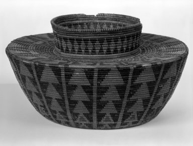 Mission Indians. <em>Imbricated Basket</em>. Fiber Brooklyn Museum, Museum Expedition 1944, Purchased with funds given by the Estate of Warren S.M. Mead, 44.195.31. Creative Commons-BY (Photo: Brooklyn Museum, 44.195.31_bw.jpg)