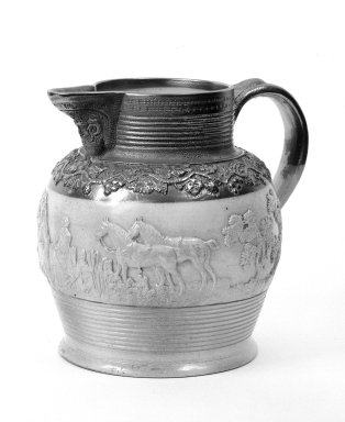 D. & J. Henderson. <em>Pitcher</em>, circa 1830. Salt glaze stoneware, 9 15/16 x 7 1/2 in. (25.3 x 19 cm). Brooklyn Museum, Dick S. Ramsay Fund, 44.196.12. Creative Commons-BY (Photo: Brooklyn Museum, 44.196.12_bw.jpg)