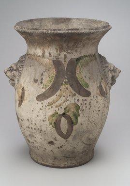 Solomon Bell (American, 1817-1882). <em>Urn or Pot</em>, ca. 1880. Earthenware, 15 x 12 1/2 x 10 1/2 in. (38.1 x 31.8 x 26.7 cm). Brooklyn Museum, Dick S. Ramsay Fund, 44.196.13. Creative Commons-BY (Photo: Brooklyn Museum, 44.196.13.jpg)