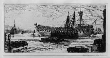 """Seymour Haden (British, 1818-1910). <em>Breaking Up of the """"Agamemnon.""""</em> . Etching on heavy wove paper, 7 11/16 x 16 3/16 in. (19.6 x 41.1 cm). Brooklyn Museum, Gift of Mr. and Mrs. Horace B. Havemeyer, 44.2.7 (Photo: Brooklyn Museum, 44.2.7_bw.jpg)"""