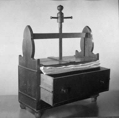 American. <em>Linen Press</em>. Gum Wood, American walnut and oak Brooklyn Museum, Gift of Mrs. Franklin Chace, 44.215. Creative Commons-BY (Photo: Brooklyn Museum, 44.215_threequarter_acetate_bw.jpg)