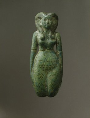 <em>Fertility Figurine</em>, ca. 1938-1630 B.C.E. Faience, 2 x 5 3/16 in. (5.1 x 13.1 cm). Brooklyn Museum, Charles Edwin Wilbour Fund, 44.226. Creative Commons-BY (Photo: Brooklyn Museum, 44.226_SL1.jpg)