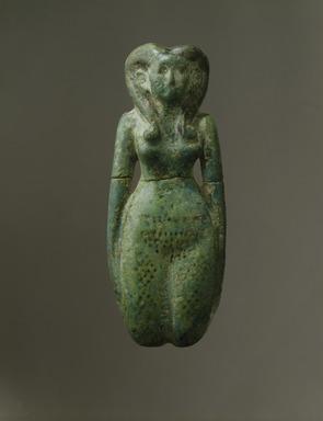 <em>Fertility Figurine</em>, ca. 1938-1630 B.C.E. Faience, 2 x 5 3/16 in. (5.1 x 13.1 cm). Brooklyn Museum, Charles Edwin Wilbour Fund, 44.226. Creative Commons-BY (Photo: Brooklyn Museum, 44.226_SL1.jpg)