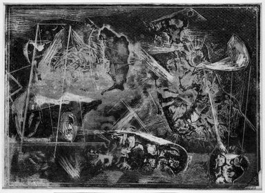 Boris Margo (American, 1902-1995). <em>Composition No. 7 (landscape)</em>, n.d. Cellocut (a monotype) on tissue, image: 7 1/8 x 9 7/8 in. (18.1 x 25.1 cm). Brooklyn Museum, Dick S. Ramsay Fund, 44.228. © artist or artist's estate (Photo: Brooklyn Museum, 44.228_bw.jpg)