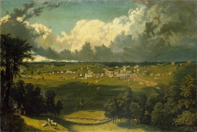 American. <em>Panoramic Landscape with a View of a Small Town</em>, ca 1840s-1850s. Oil on canvas, 30 x 44 in. (76.2 x 111.8 cm). Brooklyn Museum, Anonymous gift, 44.232 (Photo: Brooklyn Museum, 44.232_SL1.jpg)