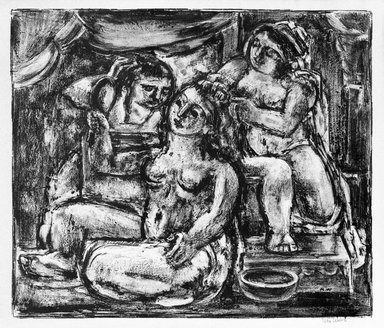 Max Weber (American, born Russia, 1881-1961). <em>Three Bathers (large)</em>. Lithograph Brooklyn Museum, By exchange, 44.239 (Photo: Brooklyn Museum, 44.239_bw.jpg)