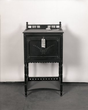 American. <em>Music-Stand</em>, Patented February 25, 1879. Ebonized (cherry?) wood, gold incising, metal hardware, 41 × 22 1/2 × 15 1/2 in. (104.1 × 54.6 × 39.4 cm). Brooklyn Museum, Gift of Bertha Fanning Taylor, 44.24.8. Creative Commons-BY (Photo: Brooklyn Museum, 44.24.8_bw_IMLS.jpg)