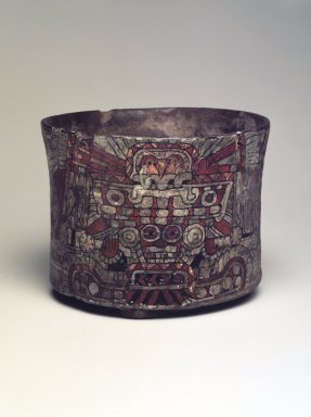 Teotihuacan. <em>Cylindrical Tripod Vessel</em>, ca. 550-650. Ceramic, stucco, pigment, 3 13/16 x 4 13/16 x 4 13/16 in. (9.7 x 12.2 x 12.2 cm). Brooklyn Museum, A. Augustus Healy Fund, 44.3. Creative Commons-BY (Photo: Brooklyn Museum, 44.3.jpg)