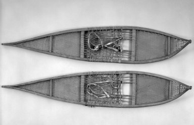 Gwitch'in (Kutechin or Loucheux). <em>Red Snowshoe</em>, early 20th century. Wood, pigment, sinew, hide, 52 x 10 1/4 x 5 1/2 in. or (131.0 x 26.0 cm). Brooklyn Museum, A. Augustus Healy Fund, 44.34.12a. Creative Commons-BY (Photo: , 44.34.12a-b_bw.jpg)