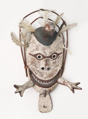 Yup'ik Eskimo. <em>Mask of a Valley Ptarmigan</em>, early 20th century. Wood, feather, pigment, 17 1/2 × 10 1/2 × 6 in. (44.5 × 26.7 × 15.2 cm). Brooklyn Museum, A. Augustus Healy Fund, 44.34.7. Creative Commons-BY (Photo: , 44.34.7_PS9.jpg)