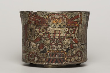 Teotihuacan. <em>Cylindrical Tripod Vessel</em>, ca. 550-650. Ceramic, stucco, pigment, 3 13/16 x 4 13/16 x 4 13/16 in. (9.7 x 12.2 x 12.2 cm). Brooklyn Museum, A. Augustus Healy Fund, 44.3. Creative Commons-BY (Photo: Brooklyn Museum, 44.3_view01_PS11.jpg)