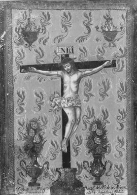 Unknown. <em>Painting Showing the Crucifixion</em>, 1842. Paint on tin, 14 x 10 in. (35.6 x 25.4 cm). Brooklyn Museum, Frank L. Babbott Fund, 44.47.1 (Photo: Brooklyn Museum, 44.47.1_bw.jpg)