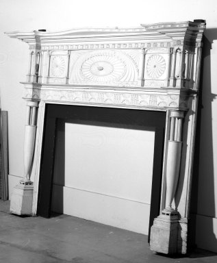Unknown. <em>Mantelpiece</em>, ca. 1812. Pine wood with gray paint, white marble, 69 1/8 x 101 5/8 x 14 3/8 in. (175.6 x 258.1 x 36.5 cm). Brooklyn Museum, Gift of Mrs. Benjamin G. Hitchings, 44.55. Creative Commons-BY (Photo: Brooklyn Museum, 44.55_bw.jpg)