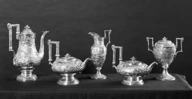 Samuel Kirk (American, 1793-1872). <em>Hot Water Pot</em>, ca. 1843. Silver, bone, 7 5/8 x 10 1/2 x 6 7/8 in. (19.4 x 26.7 x 17.5 cm). Brooklyn Museum, Gift of Mr. and Mrs. Richman Proskauer, 44.60.1. Creative Commons-BY (Photo: Brooklyn Museum, 44.60.1_44.60.2_44.60.3_44.60.4_44.60.5_acetate_bw.jpg)