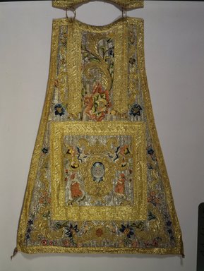 <em>Piece of Chasuble</em>. Textile; silk, metallic threads, 42 x 32in. (106.7 x 81.3cm). Brooklyn Museum, Gift of Francis F. Randolph, J. Ogden Bulkley, and David T. Bulkley, 44.61.1b. Creative Commons-BY (Photo: Brooklyn Museum, 44.61.1b_view2_SL4.jpg)