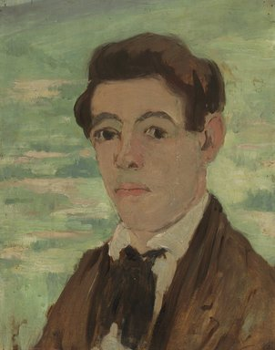 Abraham Walkowitz (American, born Russia, 1878-1965). <em>Self-Portrait 1903</em>, 1903. Oil on panel mounted to laminated paperboard, 13 13/16 x 10 7/8 in. (35.1 x 27.6 cm). Brooklyn Museum, Gift of the artist, 44.68 (Photo: Brooklyn Museum, 44.68.jpg)
