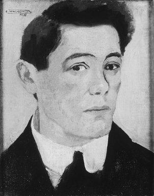 Abraham Walkowitz (American, born Russia, 1878-1965). <em>Self-Portrait 1908</em>, 1908. Oil on canvas, 21 1/4 x 18 1/2 in. (54 x 47 cm). Brooklyn Museum, Gift of the artist, 44.69 (Photo: Brooklyn Museum, 44.69_print_bw.jpg)
