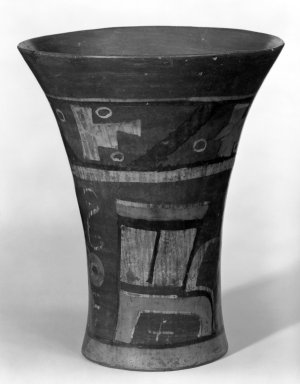 Wari. <em>Goblet or Kero cup</em>, 600-1000. Ceramic, pigment, 7 1/8 x 5 7/8 x 6 in. (18.1 x 14.9 x 15.2 cm). Brooklyn Museum, Henry L. Batterman Fund, 44.98. Creative Commons-BY (Photo: Brooklyn Museum, 44.98_bw.jpg)