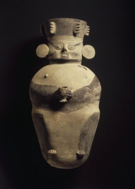 Chancay. <em>Figure Holding Cup</em>, 1000-1400. Ceramic, slips, 20 1/2 x 10 1/2 x 11 in. (52.1 x 26.7 x 27.9 cm). Brooklyn Museum, A. Augustus Healy Fund, 44.99.25. Creative Commons-BY (Photo: Brooklyn Museum, 44.99.25.jpg)