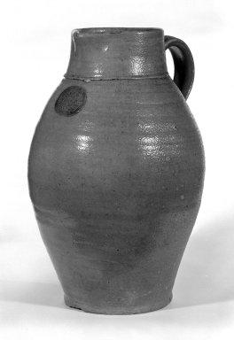 J. Chapman. <em>Jar</em>, 1815-1820. Stoneware, 14 1/2 x 5 3/4 in. (36.8 x 14.6 cm). Brooklyn Museum, Gift of Arthur W. Clement, 45.1.10. Creative Commons-BY (Photo: Brooklyn Museum, 45.1.10_bw.jpg)