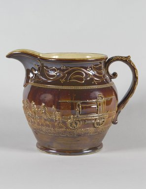 Salamander Works. <em>Pitcher</em>, ca. 1845. Earthenware, 10 x 6 3/4 in. (25.4 x 17.1 cm). Brooklyn Museum, Gift of Arthur W. Clement, 45.1.8. Creative Commons-BY (Photo: Brooklyn Museum, 45.1.8_PS5.jpg)