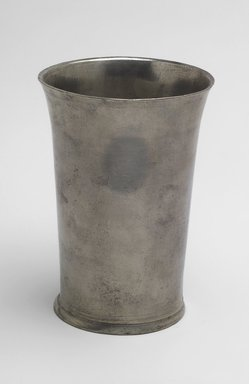 Edward Danforth (American). <em>Beaker</em>, 1788-1794. Pewter, 5 1/8 x 3 5/8 x 3 5/8 in. (13 x 9.2 x 9.2 cm). Brooklyn Museum, Designated Purchase Fund, 45.10.118.1. Creative Commons-BY (Photo: Brooklyn Museum, 45.10.118.1.jpg)